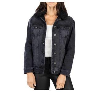 Kut Kloth Emma Sherpa Collar Denim Trucker Jacket